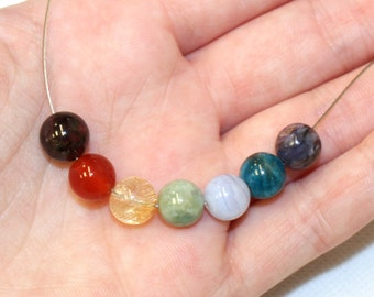 8mm Chakra Beads for Making Jewellery, 7 Beads: Garnet, Carnelian, Citrine, Jade,Blue Lace Agate, Apatite, Chariote to align your chakras!