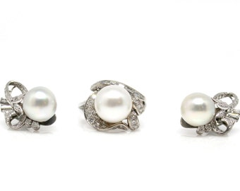 Pearl and Diamond Jewelry Set, Clip on earrings and matching ring
