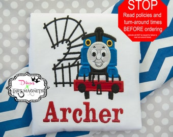 Thomas the Train Embroidered Birthday Number Shirt - Applique Thomas the Train Shirt - Birthday Shirt - Boys Birthday Shirt