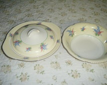 """WOOD'S IVORY WARE England.  Matching set of serving dishes ..one is a Covered Vegetable BowlNumbered and Marked """" O  Ban"""""""