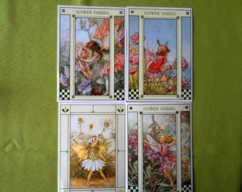 4 flower fairy postcards  collectors collectable gift idea