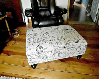 Art Deco Fabric Ottoman Footstool Bench Chair Coffee Table