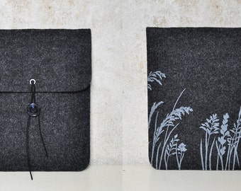 iPad sleeve - Felt case with Plant Pattern - elegant dark gray Tablet cover silkscreen printed