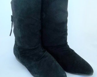BLACK Flat Pixie Ankle PUNK Pirate Boots BRAIDED Trim Ties Size 7 Leather Suede