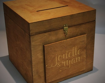 Rustic Wedding Card lock Box Personalized Engraved With Your Names Wood Wedding Card Box Treasure Chest With Lock and Key
