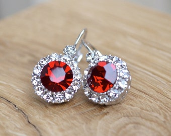 Earrings red crystal