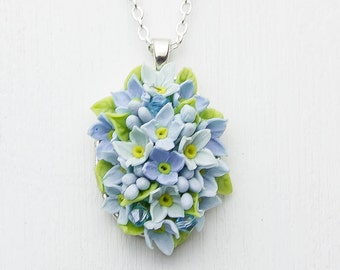 Necklace pendant with flowers from polymer clay, wedding pendant, shades of blue  flowers, floral pendants, bright jewelry, floral necklace