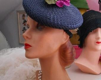 1940's Navy Blue Woven Straw Tilt Hat with Velvet Pansies