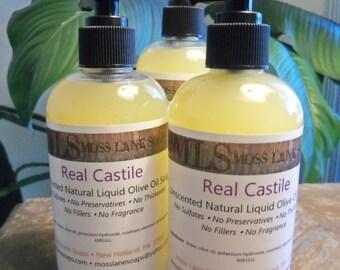 Real Castile Unscented Natural Liquid Olive Oil Soap, 8.5 fl oz Bottle with Pump Cap