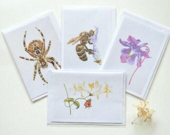 Set of 4 fine art giclee print greeting cards of hand embroidered art, Garden spider, Bee on lavender, Columbine, Honeysuckle