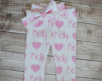 Personalized baby name leggings and name bow headband: newborn gift set baby and toddler customized name leggings baby gift