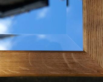 Rectangular Oak Bevelled Mirror