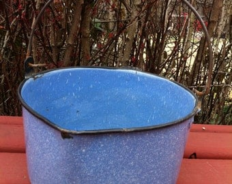 A Rusty Crusty Blue Enamel Pail/Pot With Handle