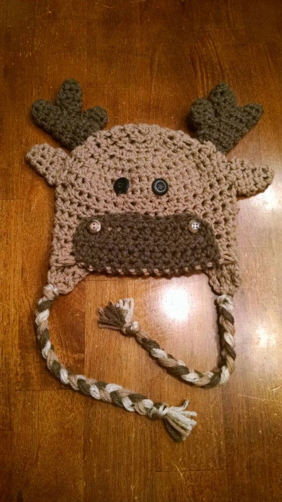 Adorable kids/toddler crochet moose hat. Kids moose hat.