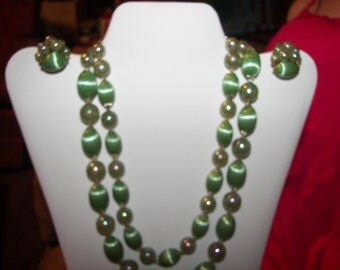 Vintage West Germany Mult-istrand necklace and Earrings Set