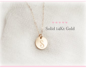 14Kt Gold Initial Necklace, Solid Gold Charm Initial Necklace, Real Gold Initial Necklace, 14Kt Gold Necklace, Personalized, Disc, Initial