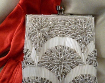 Beaded BAG, Purse, Evening/Bridal/Dance, Deco Design, Silver and White Beads, Silver Tone, Hide Away Chain, OH So Lovely!