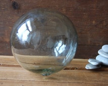 Large glass fishing float, Heavy glass, Glass buoy, Glass ball, Spirit of the sea, Beach house decor, Garden gazing ball, Wedding decor