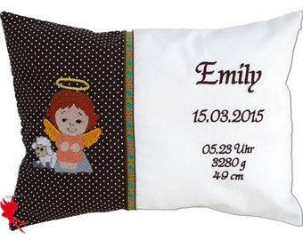 Guardian Angel - Baptism Cushion with name Name cushion Personalised pillow