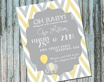 Baby Shower Invitation, Personalized Baby Shower Invitation, Yellow and Gray, Elephant, Baby, Maternity, Chevron