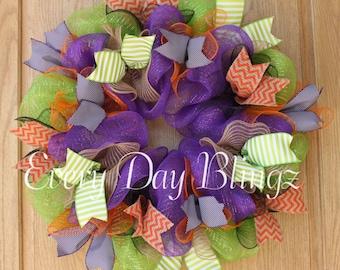 SALE!!! Halloween wreath, hand made wreath, deco mesh wreath, halloween decor, welcome wreath, home decor, burlap wreath, front door decor,