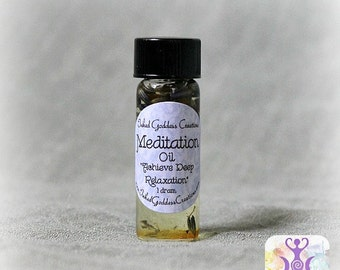 Meditation Oil, Glass Vial with Herbs, Relaxation, Concentration, 2 Sizes