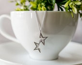 Silver Star Necklace, Geometric Necklace, Star Pendant, Gifts for Her, Sparkly Jewelry, CZ Necklace, Star Charm, Gifts Under 30