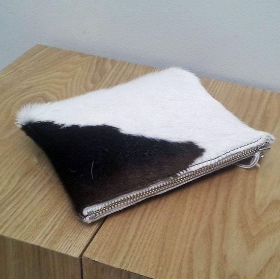 Cowhide purse - Brown/White, Cowhide pouch - natural brown/ white hairon cowhide