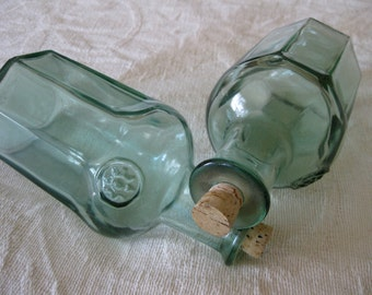 50% Off Green Glass Corked Octagon Bottles Vintage Canada