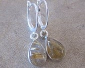 Golden Rutile Teardrop and Sterling Silver Lever Back Earrings - Storm Element - by Silla - RQTE1