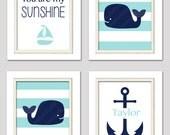 Navy and aqua nursery art, Whale nursery art, navy and aqua nursery prints, nautical nursery, 8x10 prints