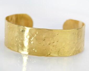 Wide Arm Band Bracelet, Hammered Brass Jewelry