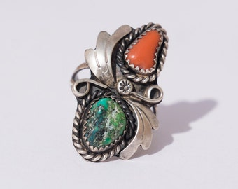 Vintage Southwest Native American GreenTurquoise, Coral & Sterling silver Ring Size 7