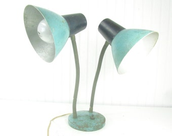 Vintage desk lamp, vintage light, metal light ,double lamp, ,turquoise Desk lamp, Goose Neck desk lamp