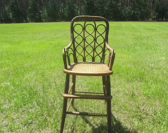 Antique high chair, Childs wicker chair,furniture ,Victorian chair,shabby chic decor,large doll chair,vintage wicker