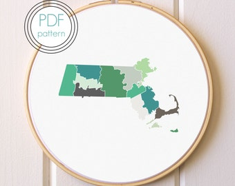 Massachusetts Embroidery Pattern PDF. Modern Hoop Art. Hand Embroidery Pattern.