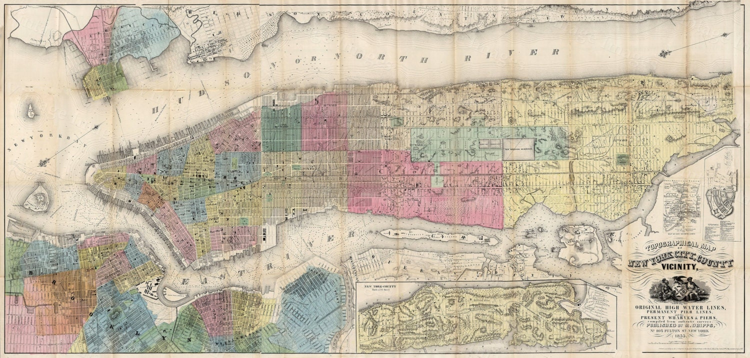 Old New York Map 1855 New York