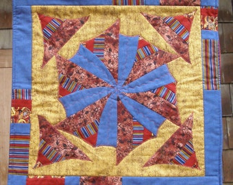 Blue wheel table mat or wall hanging