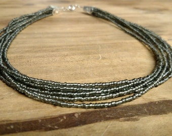 Silverlined Olive Mutlistrand Seed Bead Necklace