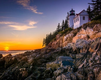 Bass Harbor Lighthouse at sunset, in Acadia National Park, Maine. | Photo Print, Stretched Canvas, or Metal Print.