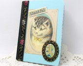 Victorian Cat Journal - Mini Notebook - Victorian Journal - Thankful Theme - Small Journal - Vintage Style - Kitty Journal - Vintage Cat