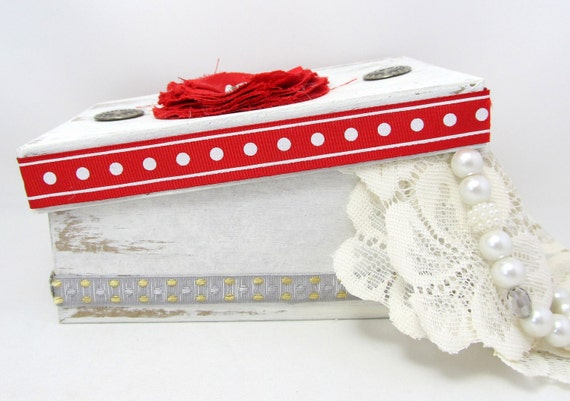 Red and White Decorative Box - Red and White Cottage Chic Box - Rustic Style - Silver Accents - Keepsake Box - Red and White Gift Box
