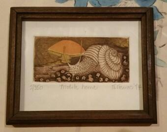 Vintage numbered print snail art vintageartwork snail artwork