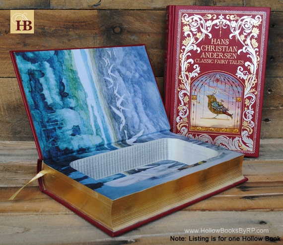 Book Safe - Classic Fairy Tales - Red Leather Bound Hollow Book Safe