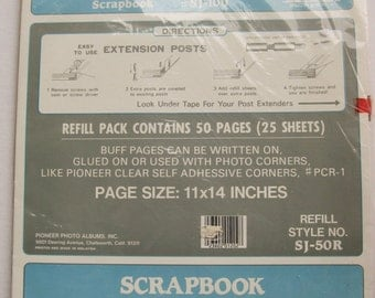 """Vintage scrapbook Refill Pages. 25 sheets/ 50 pages. Post style scrapbook pages. Pioneer photo albums. SJ-100. 11"""" x 14"""""""
