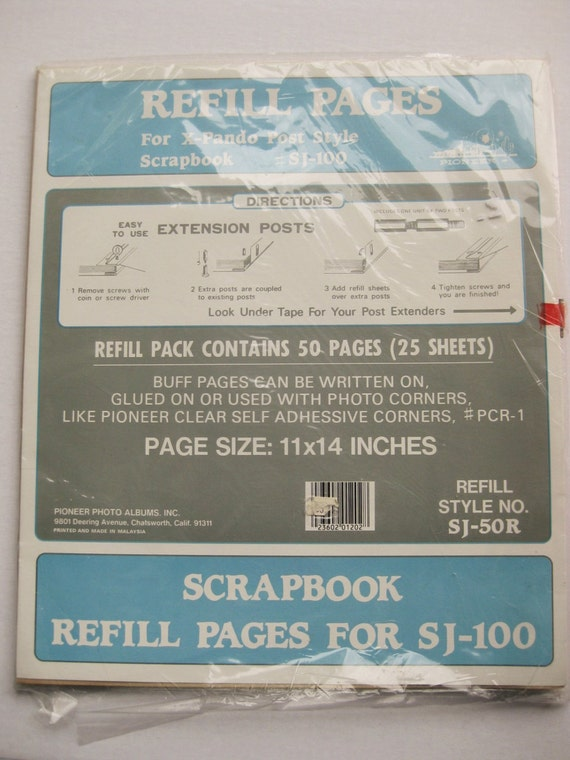 "Vintage scrapbook Refill Pages. 25 sheets/ 50 pages. Post style scrapbook pages. Pioneer photo albums. SJ-100. 11"" x 14"""