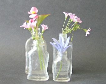 4 Small Vintage Apothecary Glass Bottles Collection