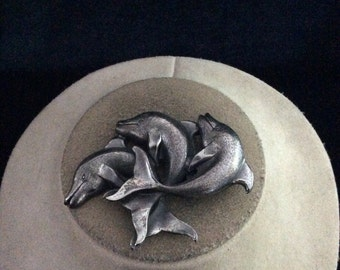 Vintage 3-D Large Triple Dolphin Pin