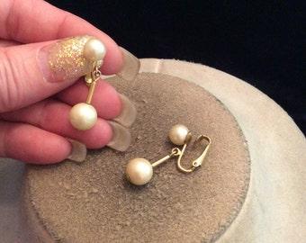 Vintage Glass Faux Pearl Dangling Clip On Earrings