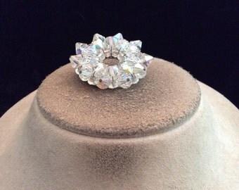 Vintage Silvertone Aurora Borialis Beaded Pin